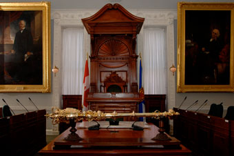 Speaker's Chair with Mace in cradle