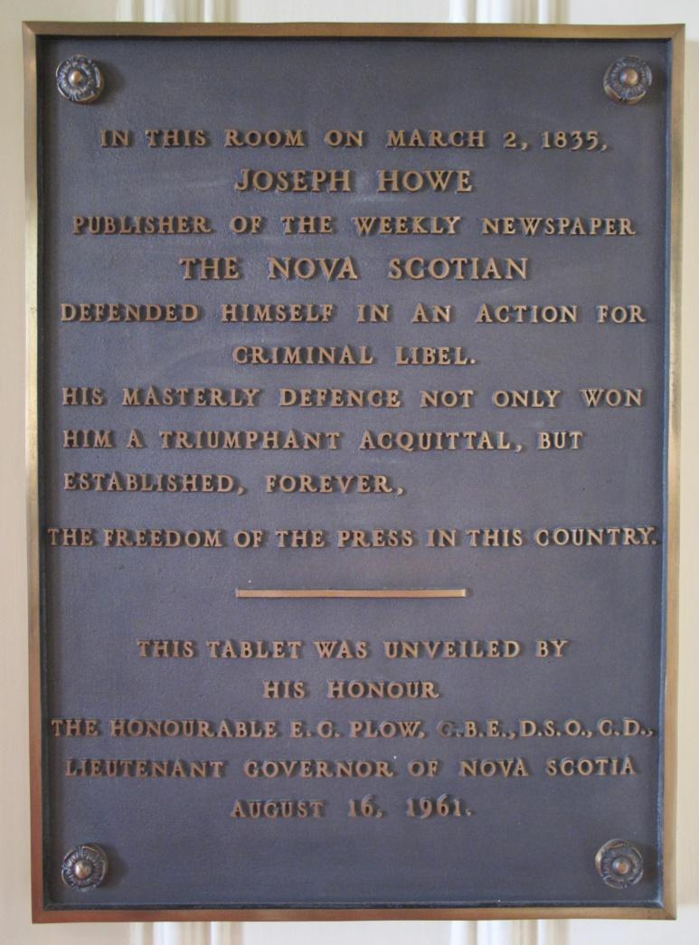 Plaque à l'honneur de Joseph Howe